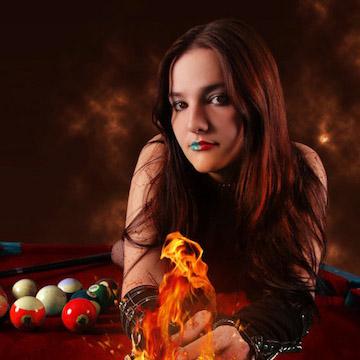 Snooker Girl Holding Fireball